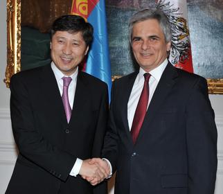 Premierminister Batbold und Bundeskanzler Faymann